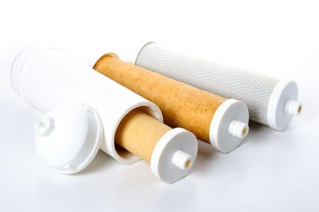 filtraci�n: Tipo de �rbol de filtro usado agua, resina de intercambio de iones, bloque de carb�n activado y la membrana de filtraci�n Ultra Foto de archivo