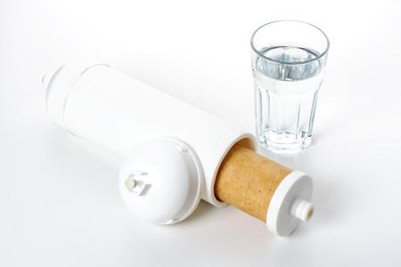 filtration: interior del cartucho de blanco para la filtraci�n de agua Foto de archivo