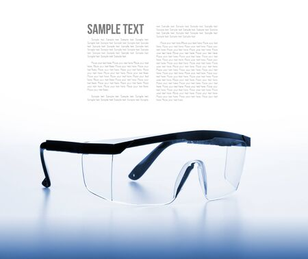 filtered: isolate clear safety glasses background with filtered Stock Photo