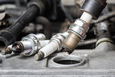 used spark plugs with soot 写真素材