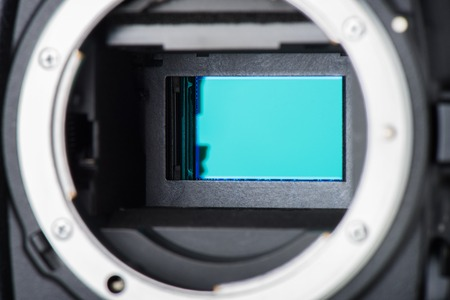 cmos: closeup clean camera sensor (CCD or Cmos) Stock Photo
