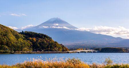 Mountain Fuji, the highest mountain in Japan. View from Lake Kawaguchi (Kawaguchigo) Stock Photo