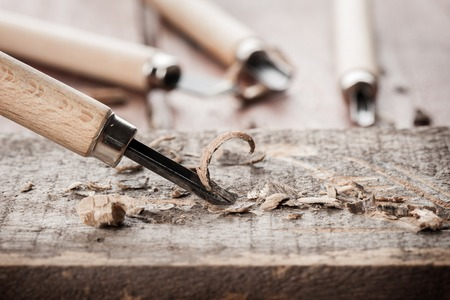 chisels: closeup chisels for wood on carpenter desktop