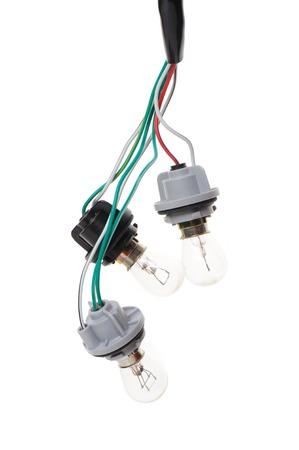 enchufe de luz: bombilla del autom�vil conectado al enchufe de la luz Foto de archivo