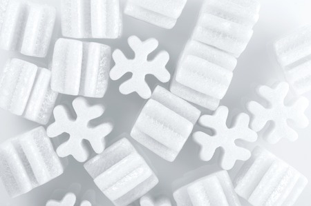 pellets: fill packing foam pellets on white background