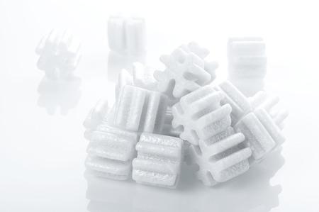 fill: fill packing foam pellets on white background