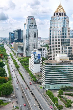 BANGKOK, THAILAND JULY 12, 2014: View of Bangkok, Thailand at Rama 4 Road. Bangkok is capital of Thailand.