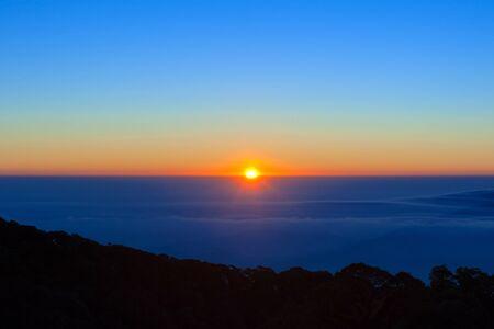 winter sunrise: sunrise in the winter morning Stock Photo