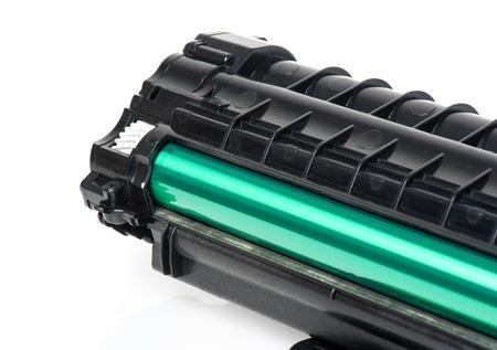 printer cartridge: used black cartridge for laser printer isolated on white background