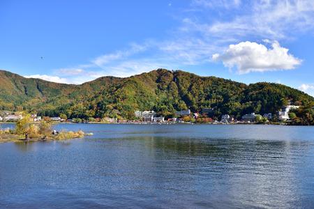 kawaguchi: Lake Kawaguchi, located in Fujikawaguchiko, southern Yamanashi Prefecture near Mount Fuji, Japan. Stock Photo