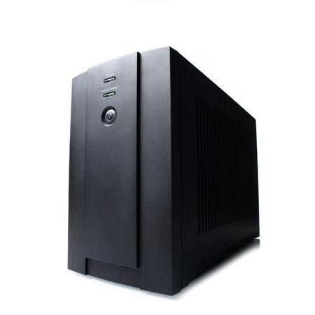 power: black UPS (Uninterruptible Power Supply) on white background