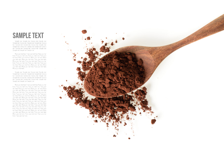 cocoa powder and wooden tea spoon