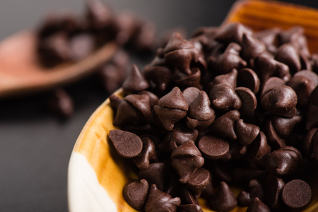 semisweet: heap of dark chocolate chip in the bowl