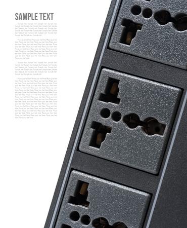 plug socket: closeup black universal plug socket