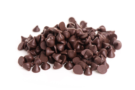 heap of dark chocolate chip on white background