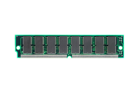 gigabytes: closeup SIMM 72-pin RAM isolated on white background Stock Photo