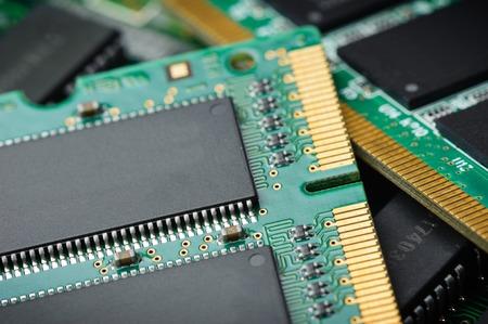 gigabytes: closeup details of computer memory (RAM) Stock Photo