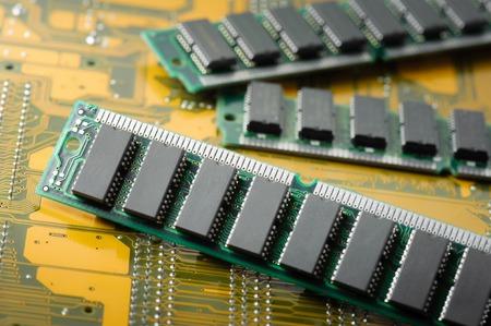 megabytes: closeup SIMM 72-pin RAM Stock Photo