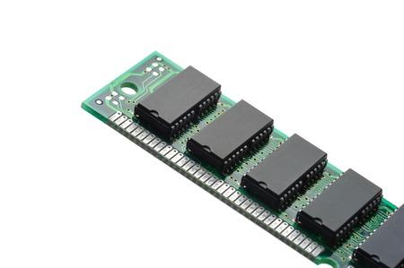 closeup SIMM 72-pin RAM isolated on white background Stock Photo