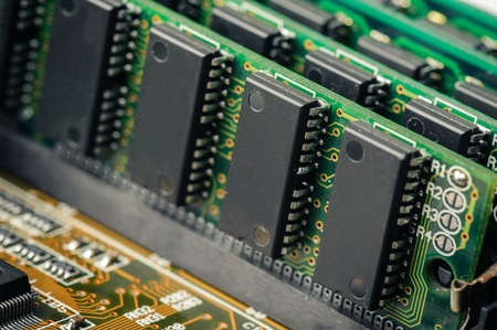megabytes: closeup SIMM 72-pin RAM on motherboard