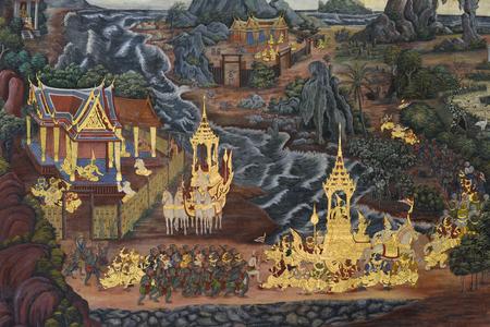 in wat phra kaew: BANGKOK, THAILAND - FEBRUARY 19, 2015: A scene from the Ramakien in Wat Phra Kaew. Editorial