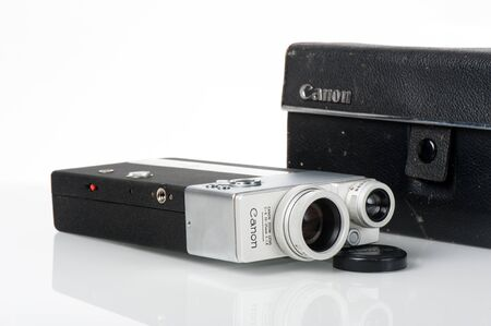 cine: BANGKOK, THAILAND - FEBRUARY 02, 2015: The CINE CANONET 8, 8mm movie camera from Canon.