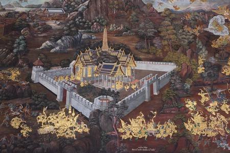 Wat Phra Kaew: BANGKOK, THAILAND - FEBRUARY 19, 2015: A scene from the Ramakien in Wat Phra Kaew. Editorial