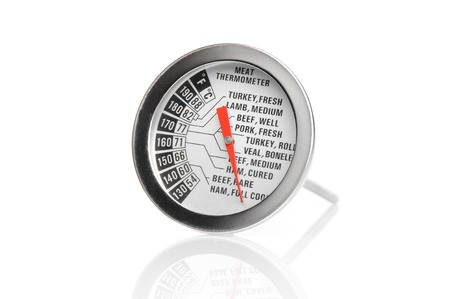 thermometer: closeup meat thermometer scale isolated on white background