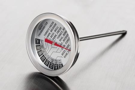 thermometer: carne termómetro de cerca en acero inoxidable