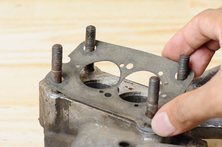 gasket: gasket replacement to the engine Stock Photo