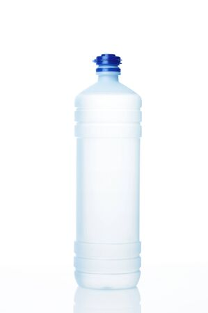 distilled: Distilled water for refill cars battery on white background