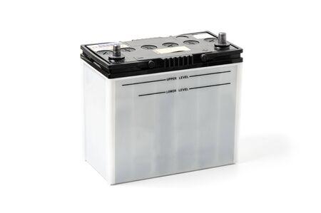 12v: closeup car battery on white background