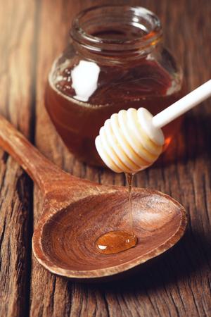 dipper: closeup detail of honey and honey dipper