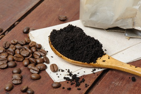 coffee grounds and roasted coffee beans