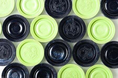 draughts: light green and dark blue of old draughts on white background Stock Photo