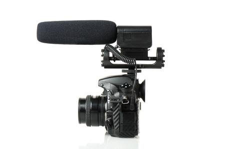 vdo: black microphone attatched on DSLR camera Stock Photo