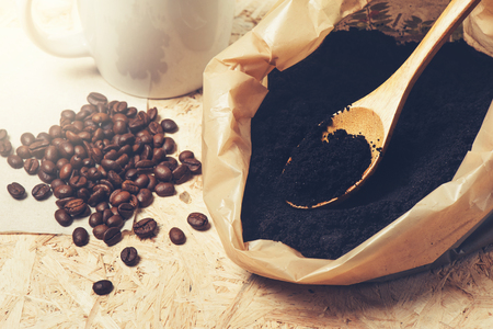 coffee grounds: coffee grounds and roasted coffee beans