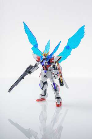 panoply: BANGKOK, THAILAND - MARCH 18, 2015: Plastic model of star build strike gundam plavsky wing over white background. Editorial