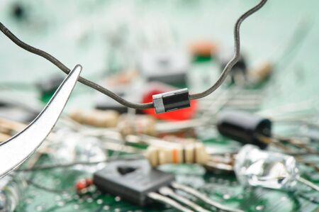 diode: Diode against from heap of electronic parts