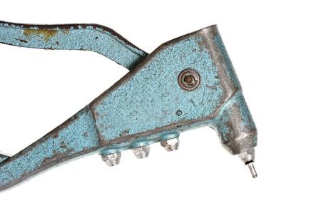 metal fastener: pop rivet gun isolated on white background Stock Photo