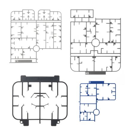 moulding: sprue or injection moulding of toy on white background Stock Photo