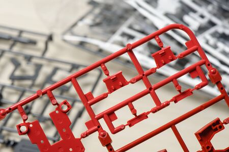 moulding: closeup sprue or injection moulding of toy