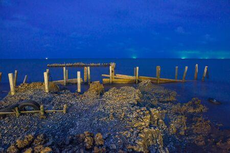 seawall: seawall protect areas of human habitation, night scene Stock Photo