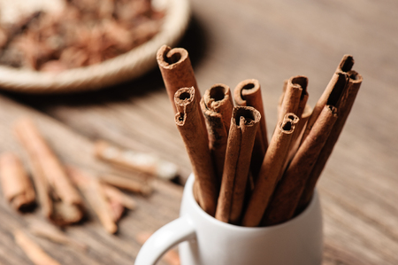 fragrant: fragrant cinnamon sticks in white cup