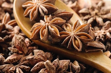 anice: closeup details of star anise