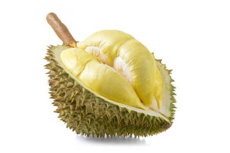 thong: yellow durian in side Mon Thong durian fruit on white background Stock Photo