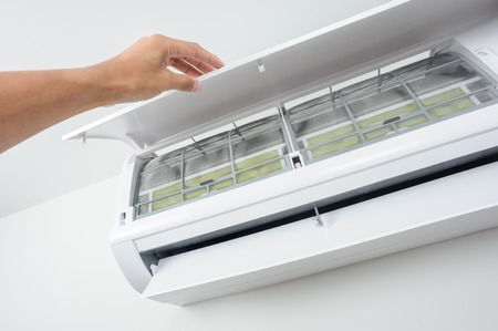closeup clean air conditioner filter of wall type air conditioner