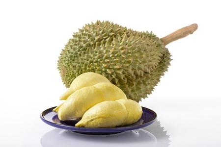 Durian: thùy sầu riêng vàng và Mon Thong trái sầu riêng trên nền trắng