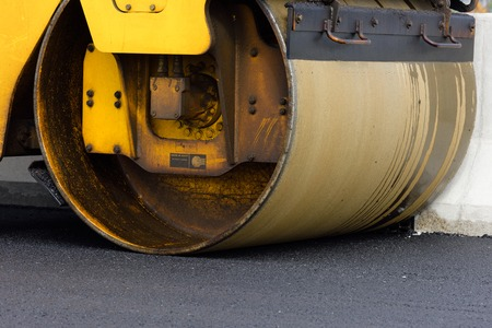 vibration: Heavy Vibration roller at asphalt pavement works