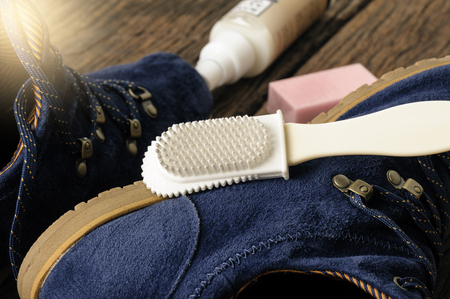 suede: maintenance brush for suede and nubuck shoes Stock Photo